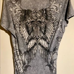 Vocal Tops - Long, short sleeve, light gray, rhinestone T-shirt
